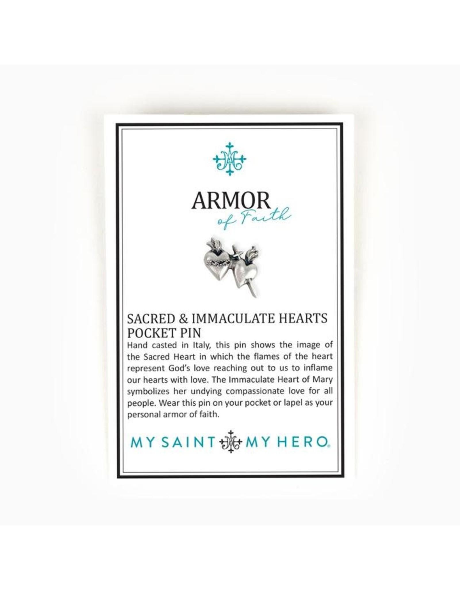 My Saint My Hero Armor of Faith Sacred and Immaculate Hearts Pocket Pin