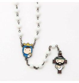 Tiny Saints Tiny Saints Rosary with White Beads and Hematite Cross
