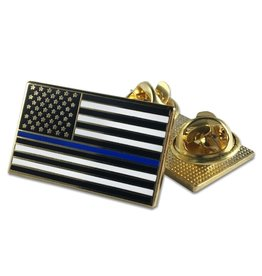 Thin Blue Line USA Classic Thin Blue Line American Flag Double Backed Pin