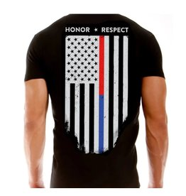 Thin Blue Line USA Honor and Respect Thin Red and Blue Line Women's T-Shirt