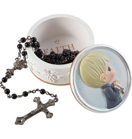 Precious Moments First Communion Boy Faith Is The Light That Guides You Boy Rosary Box with Rosary