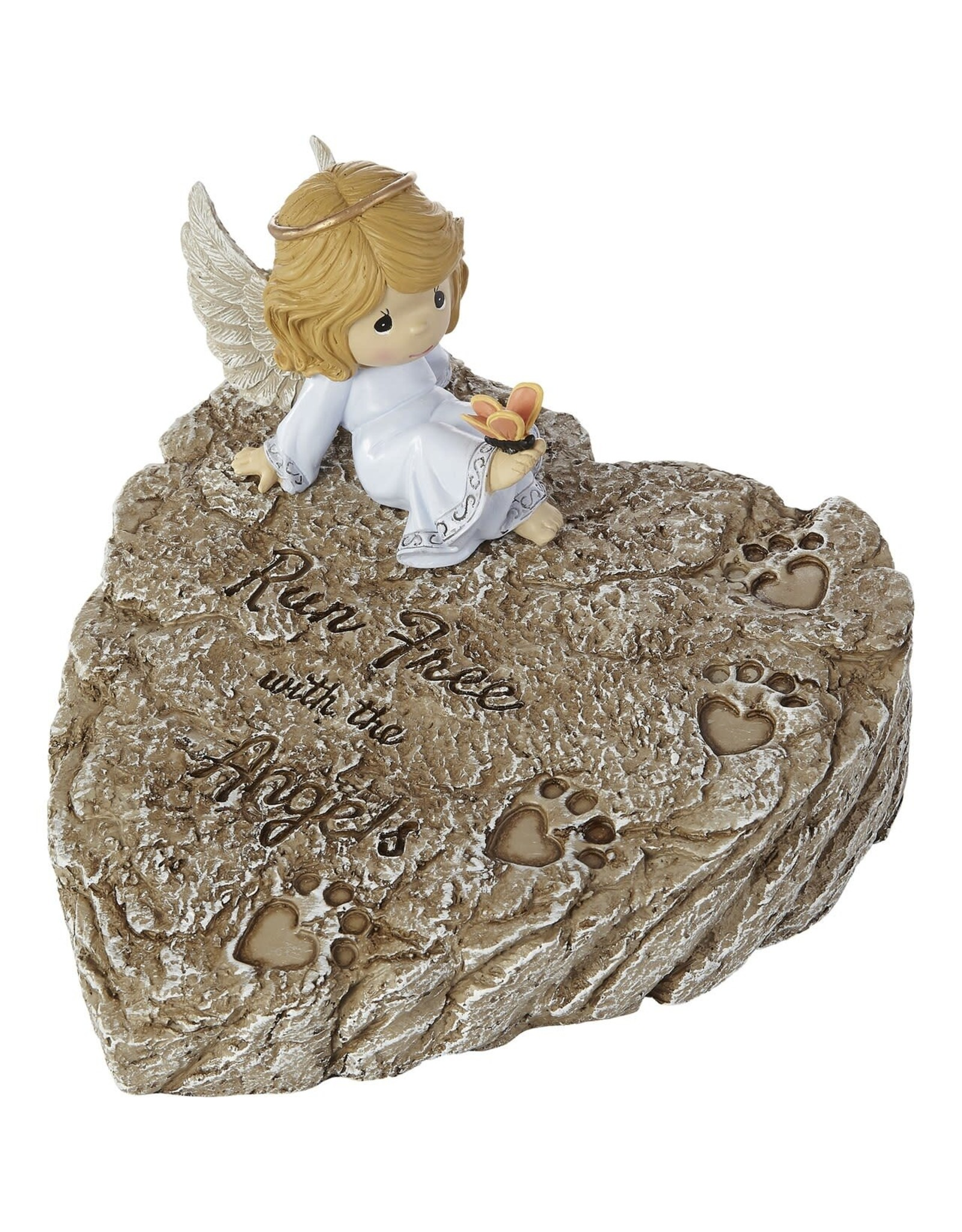 Precious Moments Angel on Heart Shaped Stone Run Free With The Angels Memorial Garden Stone