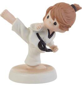 Precious Moments Kick Like A Girl Brunette Girl Doing Martial Arts Figurine