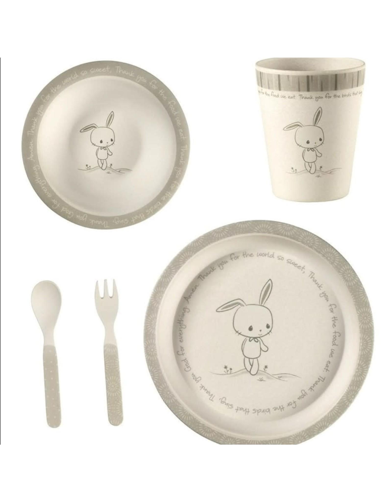 Precious Moments 5-Piece Bunny Mealtime Gift Set, Bamboo