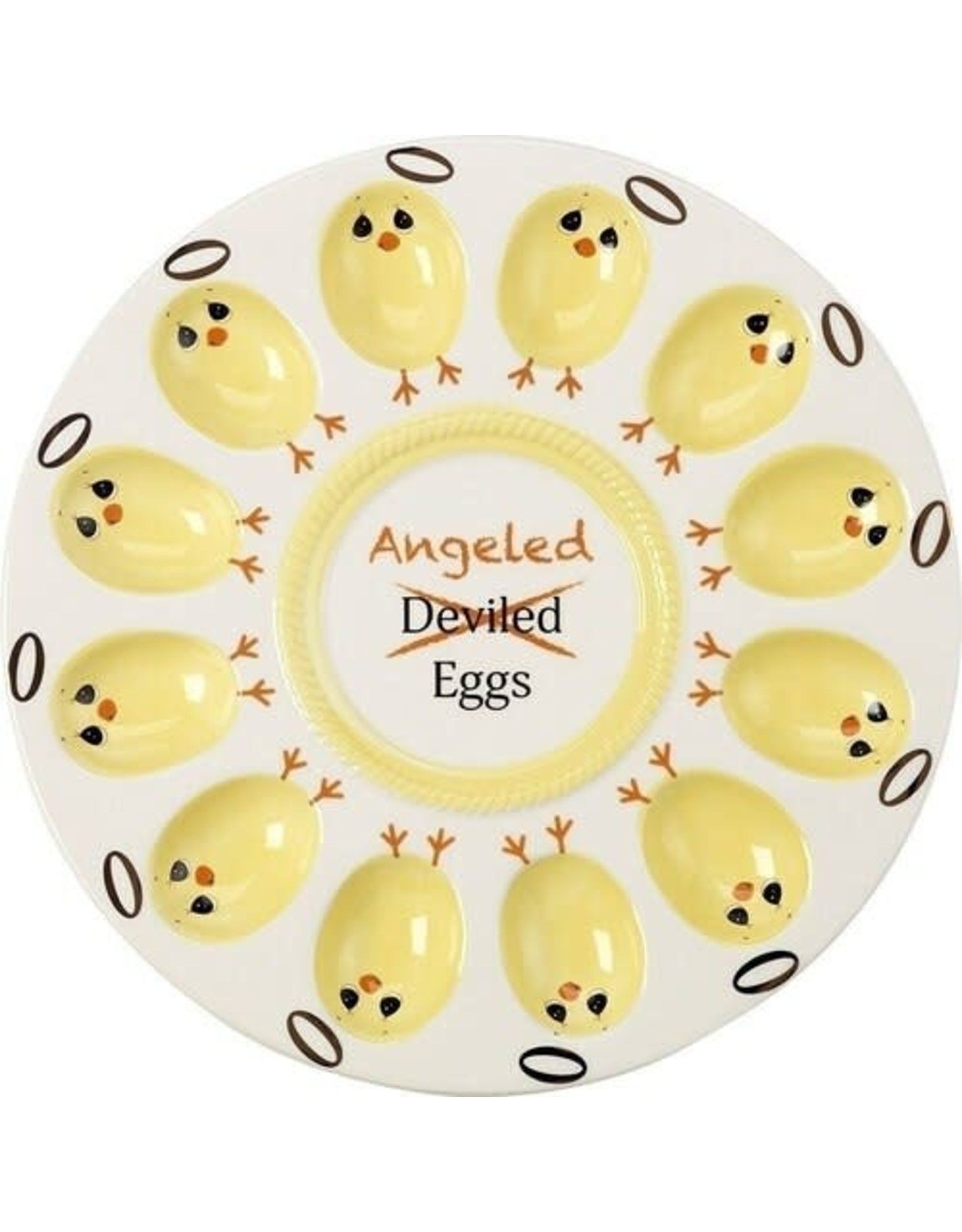 Precious Moments 10 in Deviled/ Angeled Egg Platter, Ceramic