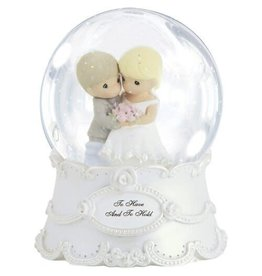 Precious Moments Wedding Couple To Have And To Hold, Resin/Glass Snow Globe, Musical