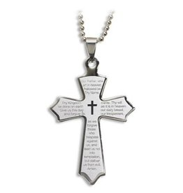 Autom Our Father Laser Engraved Cross Pendant