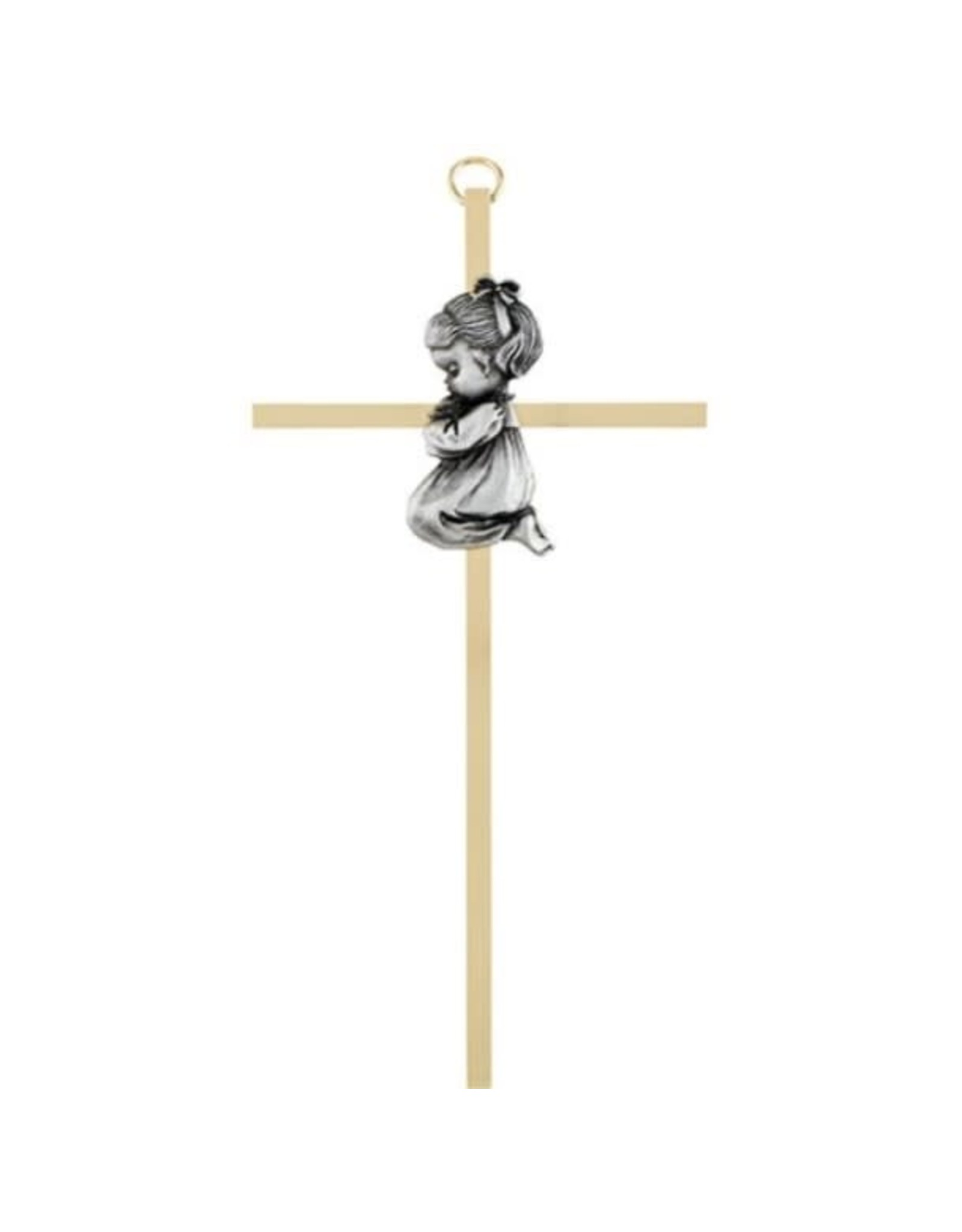 Christian Brands Brass Cross with Emblem - Baby Girl