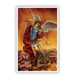 Autom St. Michael Large Print Spanish Laminated Holy Card