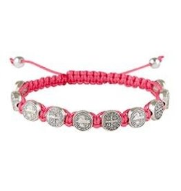 Autom St. Benedict Medal with Rose Pink Cord Bracelet