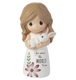 Precious Moments You Mean The World To Me Girl with Bunny Figurine