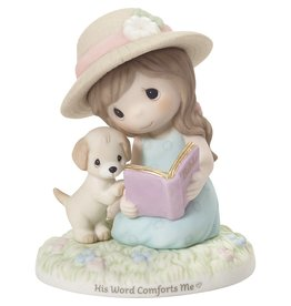 Precious Moments Girl Reading Bible His Word Comforts Me Figurine