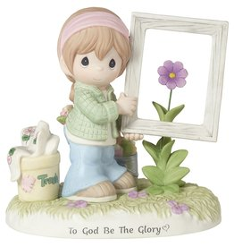 Precious Moments Girl Holding Frame To God Be The Glory Figurine