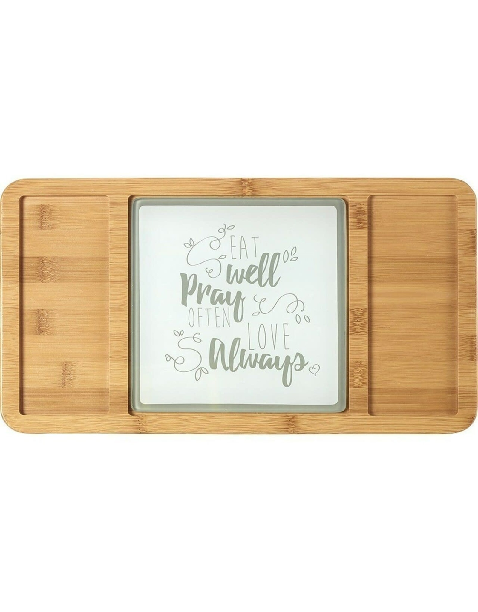 Precious Moments Bountiful Blessings, Eat Well Pray Often Love Always, Bamboo Cheeseboard/Serving Tray with Glass Insert