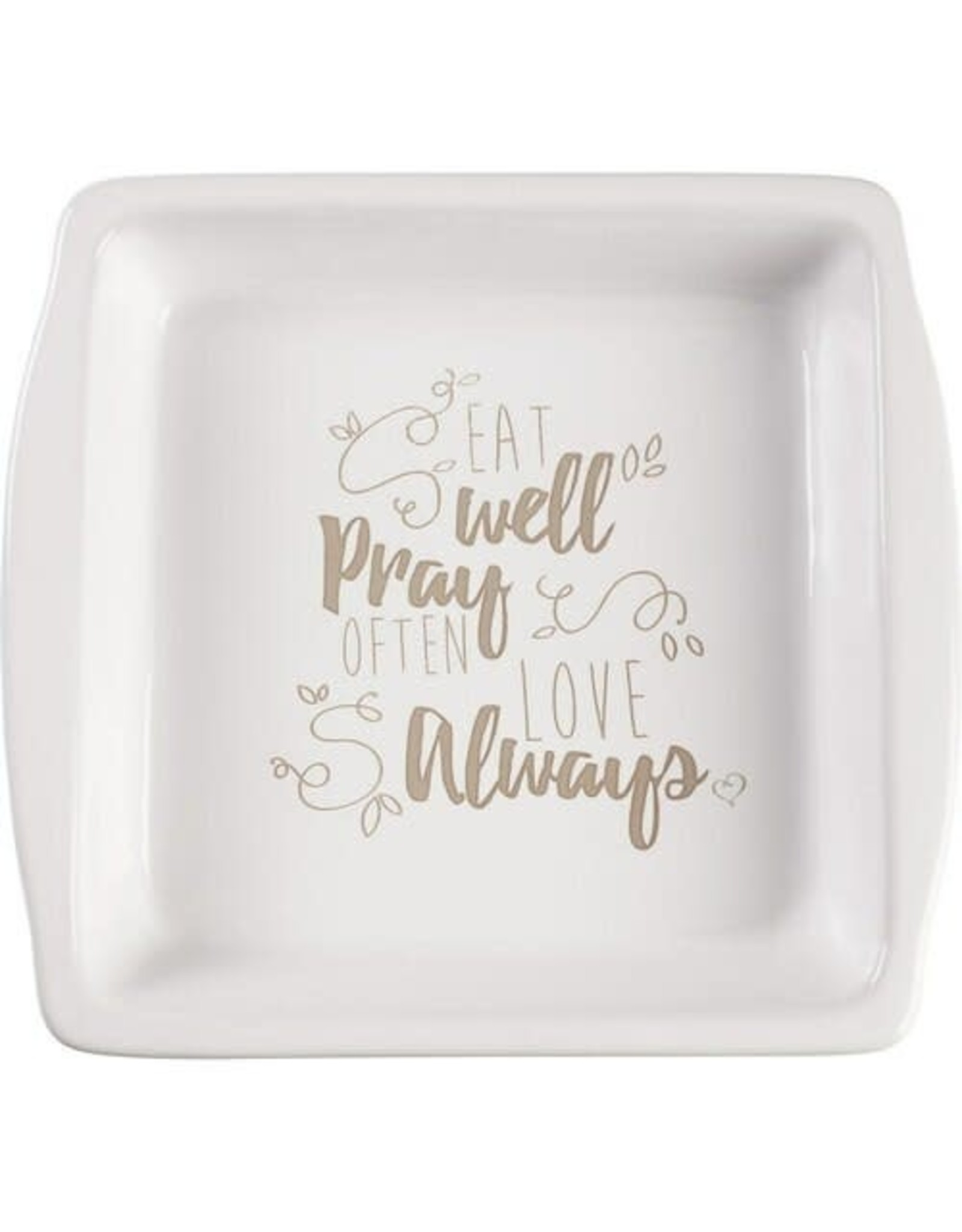 Precious Moments Bountiful Blessings, Eat Well Pray Often Love Always, Ceramic Brownie Pan, 9 in
