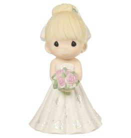 Precious Moments Mix and Match Wedding Cake Topper/Bride Figurine, Blonde Hair, Light Skin Tone, Porcelain