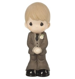 Precious Moments Mix and Match Wedding Cake Topper/Groom Figurine, Blond Hair, Light Skin Tone