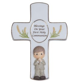 Precious Moments Blessings On Your First Holy Communion, Bisque Porcelain Cross With Stand, Boy