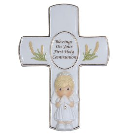 Precious Moments Blessings On Your First Holy Communion, Cross With Stand, Girl