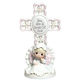 Precious Moments You Are A Child Of God, Bisque Porcelain Cross, Girl