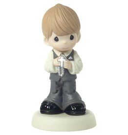 Precious Moments May His Light Shine In Your Heart Today And Always, Bisque Porcelain Figurine, Boy, Blonde