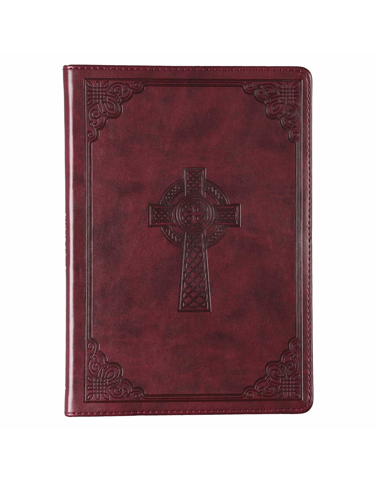 Christian Art Gifts Brown Slimline Faux Leather Journal with Celtic Cross
