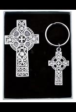 Abbey + CA Gift Celtic Cross Keychain and Car Visor Clip Set