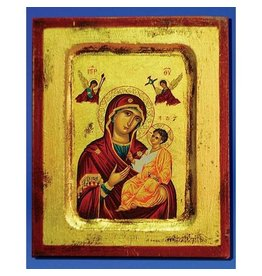 """Lumen Mundi Virgin Mary of the Passion Hand Painted Icon Made in Greece, 5.75"""" x 7.25"""" x 1"""""""