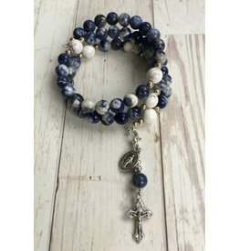 Life Rox Immaculate Conception Rosary Bracelet | Sodalite Rosary Wrap Bracelet with Prayer Bookmark Movable Charm