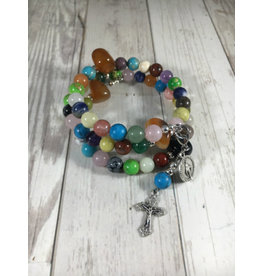 Life Rox Our Lady of Charity Rosary Bracelet | Multi-Stone Rosary Wrap Bracelet with Prayer Bookmark Movable Charm