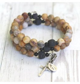 Life Rox Our Lady of Kibeho | Matte Crazy Lace Agate with Essential Oil Diffuser Beads | Rosary Wrap Bracelet with Prayer Bookmark Movable Charm