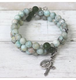Life Rox Our Lady of Loreto Rosary Bracelet | Faceted Kiwi Jasper Rosary Wrap Bracelet with Prayer Bookmark Movable Charm