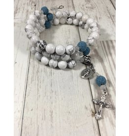 Life Rox Our Lady of Peace Rosary Bracelet with Howlite and Essential Oil Diffuser Beads Rosary Wrap Bracelet with Prayer Bookmark Movable Charm