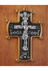 Monastery Icons Byzantine Style Alpha and Omega Resin Wall Crucifix
