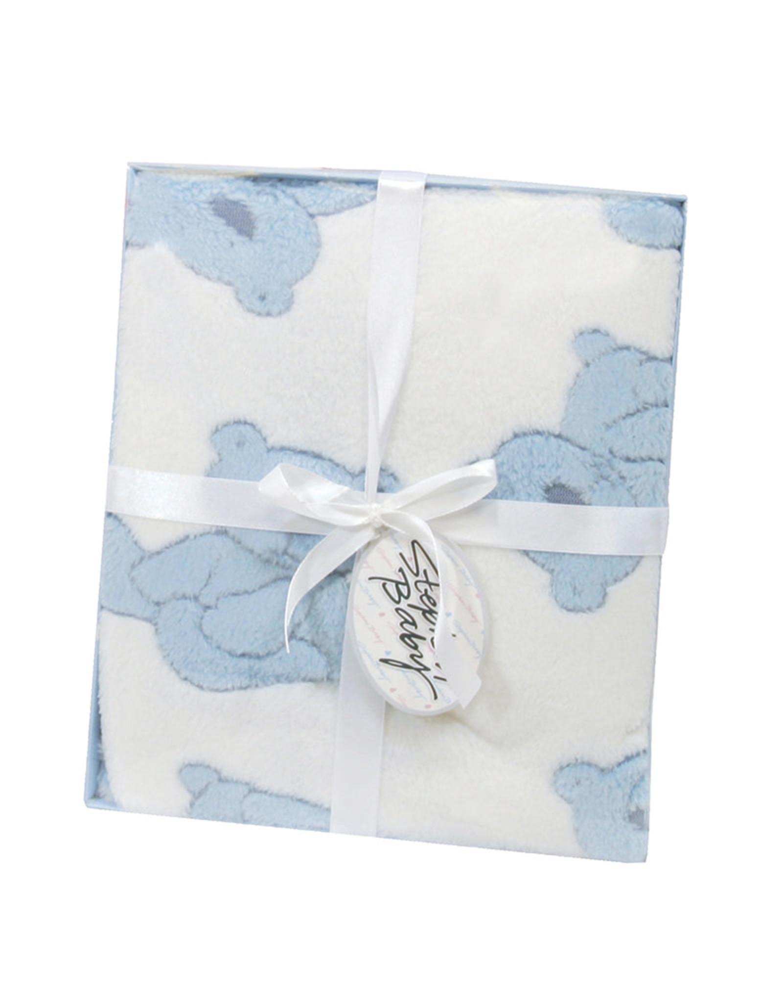 Boxed Plush Bear Baby Blanket - Blue