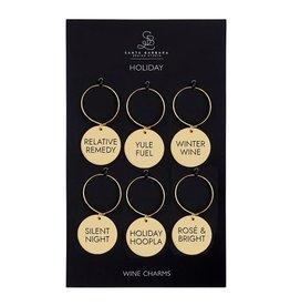 Santa Barbara Designs Set of 6 Holiday Gold Wine Charms
