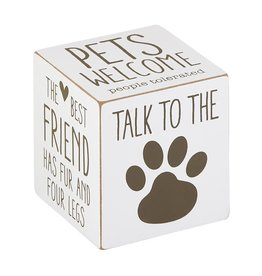 Heartfelt - Made with Love Talk to the Paw Wood Quote Cube
