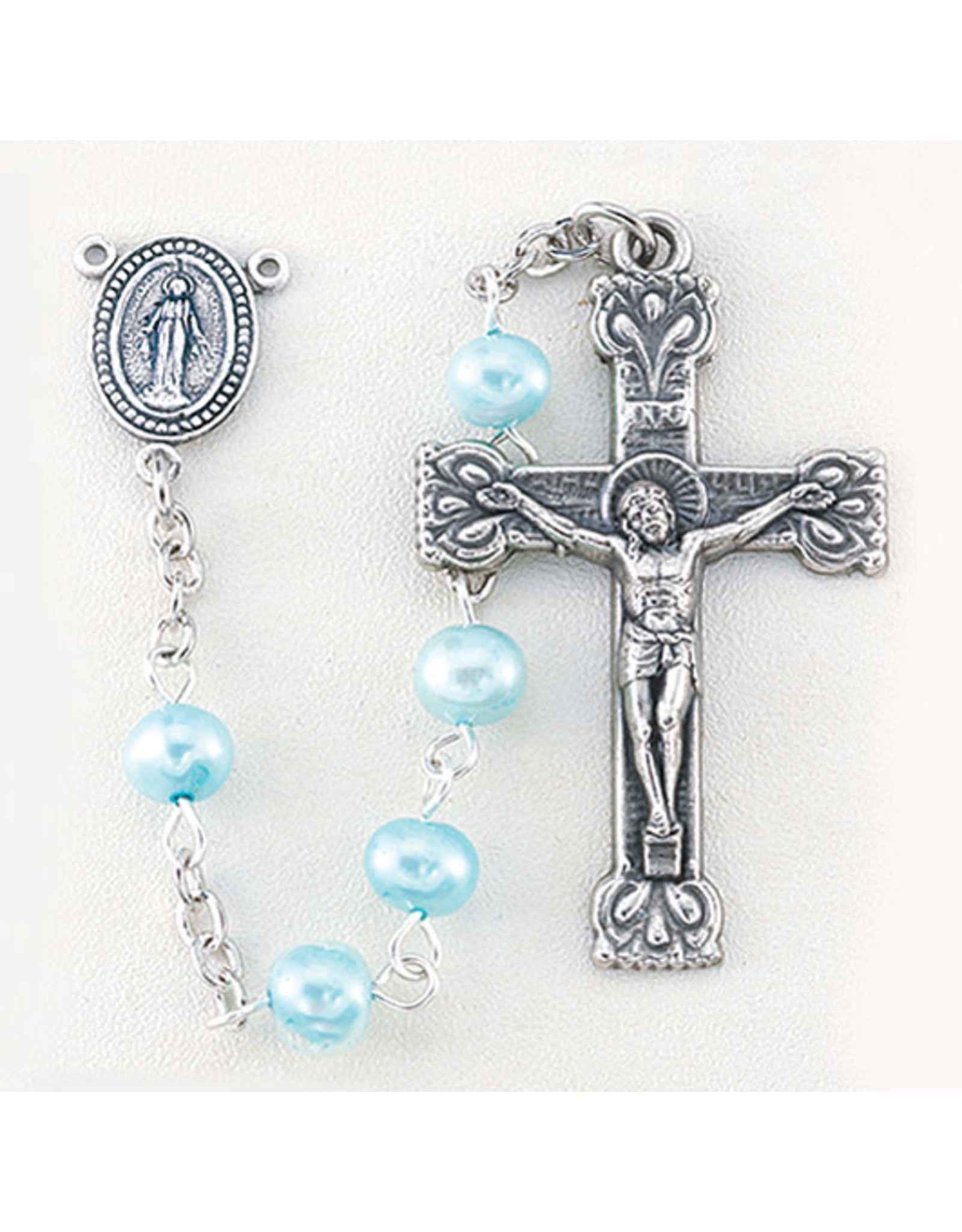 Hirten 4mm Freshwater Light Blue Pearl Rosary, Boxed