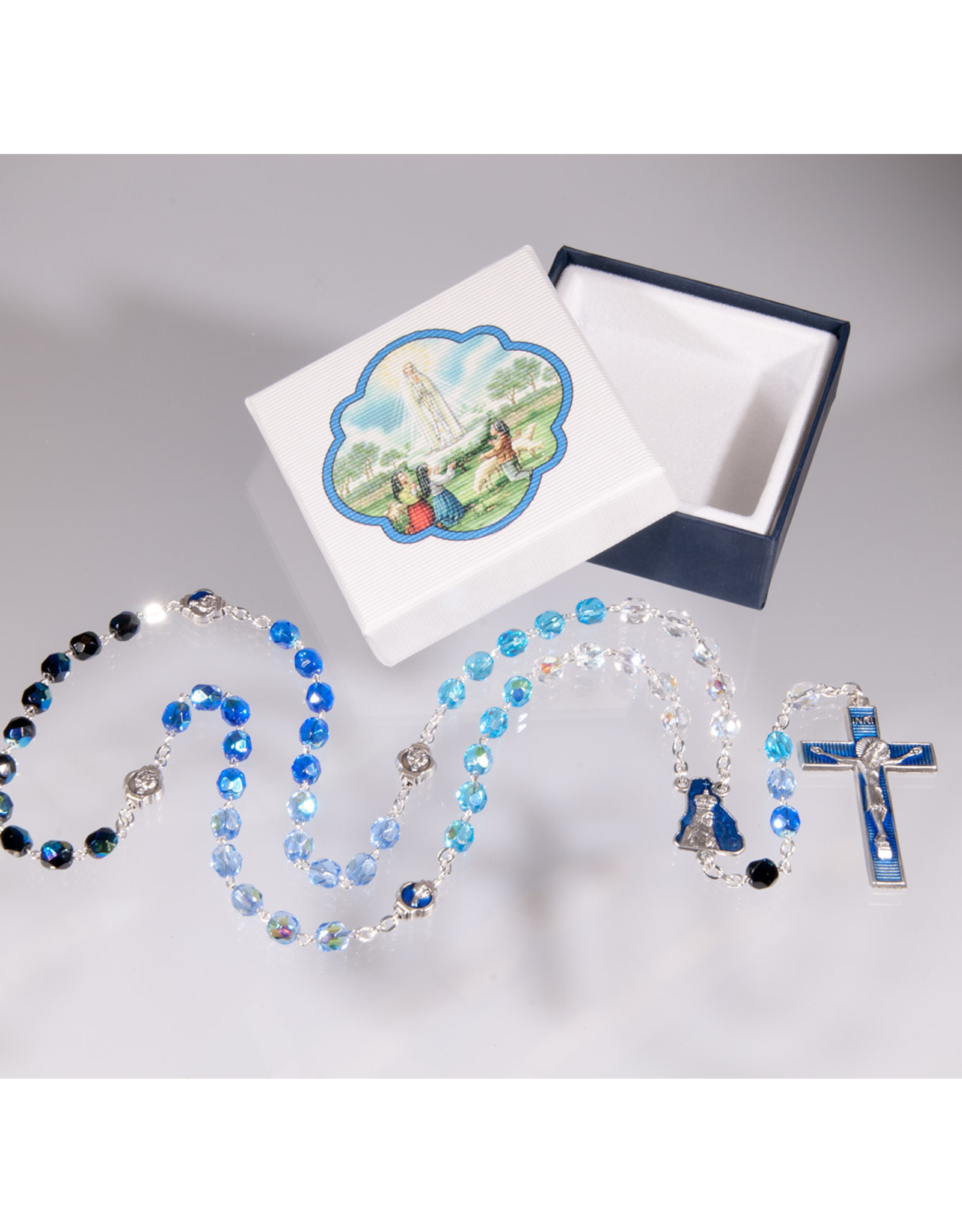 Hirten 5x6 mm Glass Bead Our Lady of Fatima Rosary with Enameled Cross