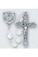 Hirten 6mm Crystal Aura Borealis Bead Rosary, Boxed
