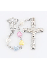 Hirten 6mm Multi Colored Heart Rosary, Boxed