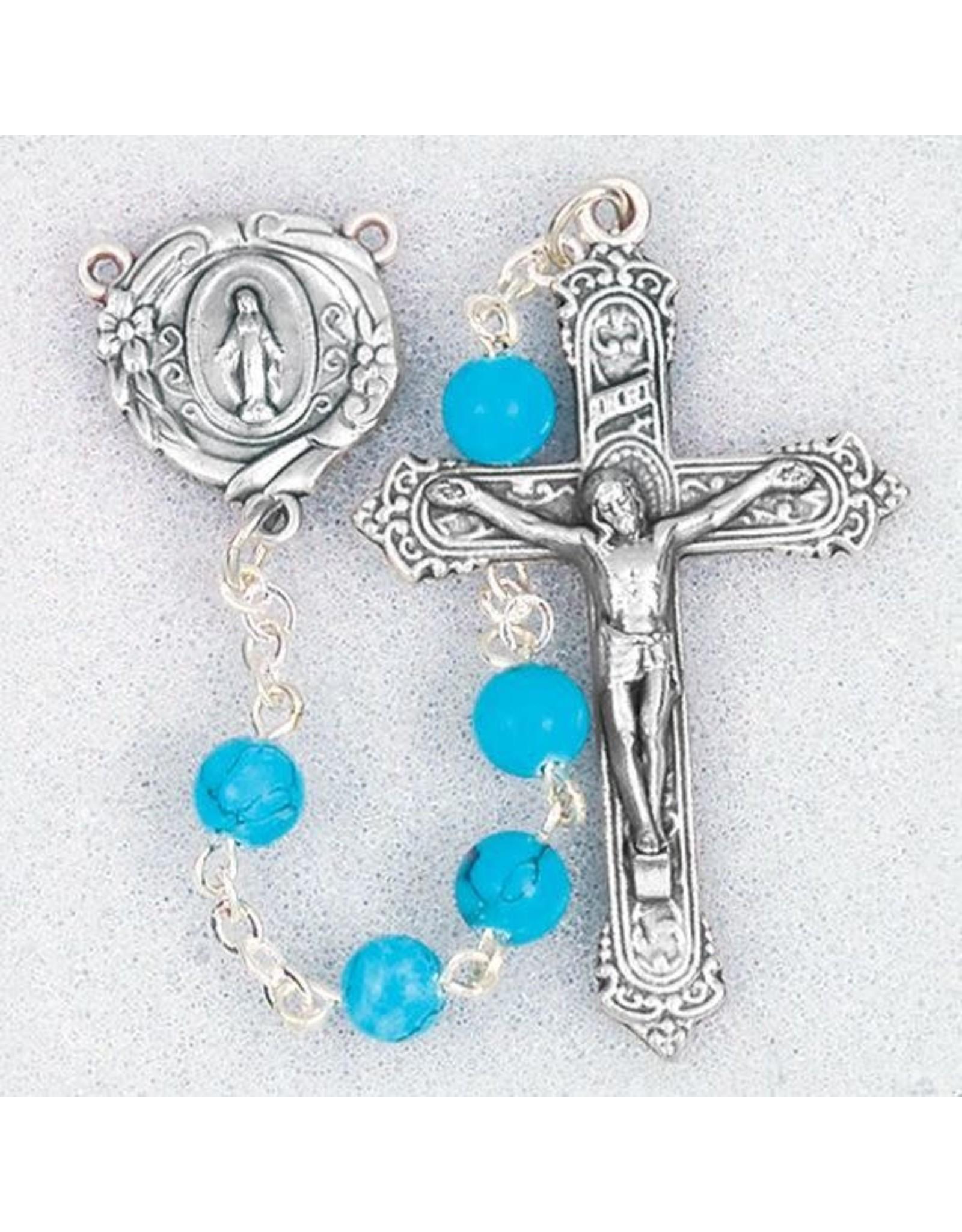 Hirten 6mm Turquoise Bead Rosary, Boxed