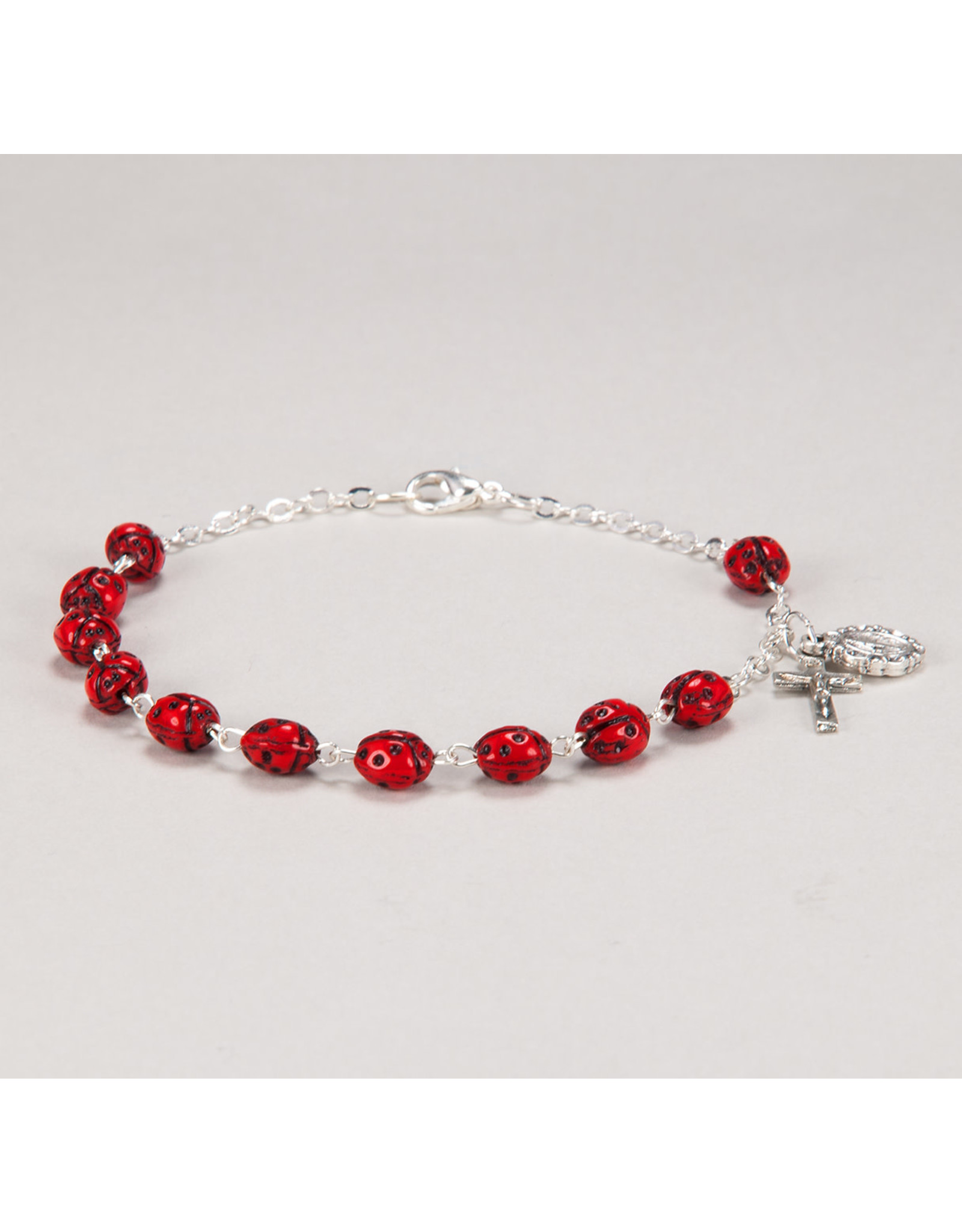 Hirten 7mm Metal Red Ladybug Rosary Bracelet with Cross and Center Boxed