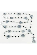 Hirten Black Glass Bead Via Crucis Stations of the Cross Rosary