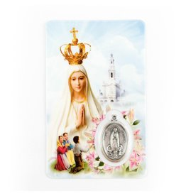 Shomali Prayer Card with Medal Our Lady of Fatima