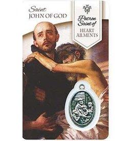 Shomali Prayer Card with Medal Healing St-John of God Heart
