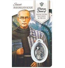 Shomali Prayer Card with Medal  Healing St. Maximillian Kolbe Addiction