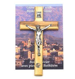 "Shomali Pewter Corpus Crucifix with Stone Made of Olive Wood, 5"""