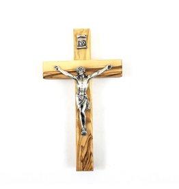 """Shomali Pewter Corpus Crucifix Made of Olive Wood,  5"""""""