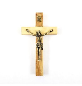 "Shomali Pewter Plated Bronze Corpus  Crucifix Made of Olive Wood  5"""